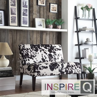 Inspire Q Easton Black Cow Hide Fabric 2-seater Accent Loveseat