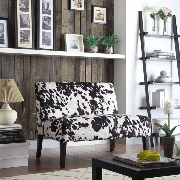 Wicker Black and White Faux Cow Hide Fabric 2-seater Accent Loveseat by iNSPIRE Q Bold 11226917