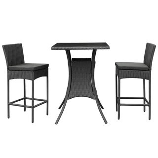 Cerveza Black Rattan Pub Table and Two Chairs Outdoor Dining Set