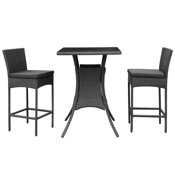 cerveza black rattan pub table and two chairs outdoor