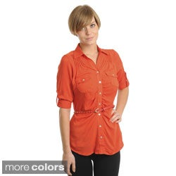 Stanzino Women's Button-down Belted Shirt