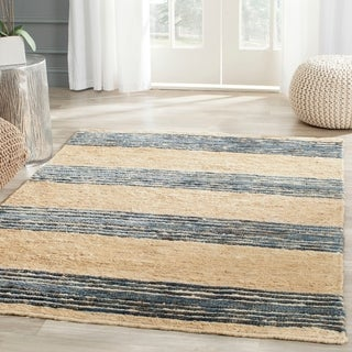 Safavieh Hand-knotted Bohemian Natural/ Blue Wool Rug (4' x 6')