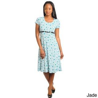 Stanzino Women's Floral Print Short Sleeve Dress