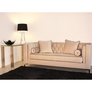 Decenni Custom Furniture 'Tobias' Dove Grey Tufted 8-foot Loveseat