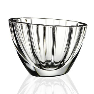 Oval Crystal Clear Mouth Blown Pedestal Bowl