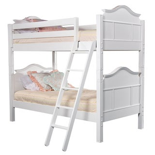 Emma French-Design Twin Bunk Bed with Ladder and Safety Rails