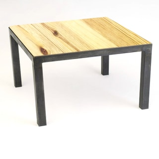 Aggie Designs Steel-Frame Square Wood Top Coffee Table