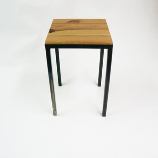Aggie Designs Steel-Frame Wood Top Side Table