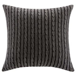 Woolrich Williamsport Grey Knitted 26-inch Euro Sham with Hidden Zipper Closure