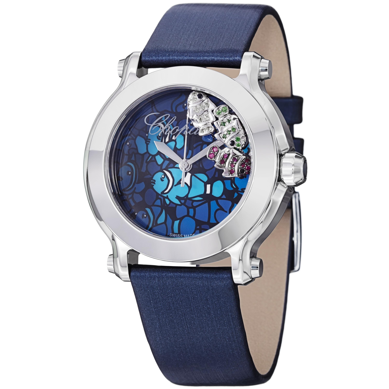 Chopard women 39 s 39 happy fish 39 blue dial blue satin strap for Watch big fish