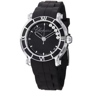 Chopard Women's 'Happy SportRound' Black Diamond Dial Quartz Watch