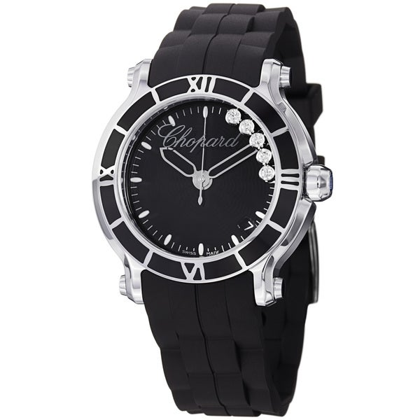 Chopard Women's 278551-3002 'Happy SportRound' Black Diamond Dial Quartz Watch