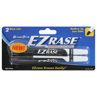 Board Tech EZrase Low Odor Dry Erase Whiteboard Markers Black Ink Medium Tip