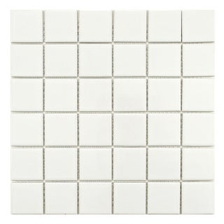 SomerTile Victorian Quad Glossy White Porcelain Mosaic Tiles (Pack of 10)