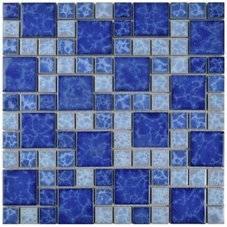 SomerTile 11.75x11.75-inch Watermark Versailles Adriatic Porcelain Mosaic Floor and Wall Tile (Pack of 10)