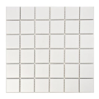 SomerTile Victorian Quad Matte White Porcelain Mosaic Tiles (Pack of 10)