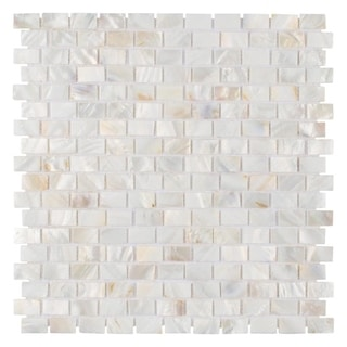 SomerTile 11.75 x 11.75-inch Seashell Subway White Mosaic Wall Tile (Pack of 10)