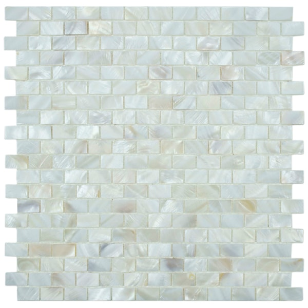 Seashell Backsplash Tile: SomerTile Seashell Subway White Mosaic Tile (Pack Of 10