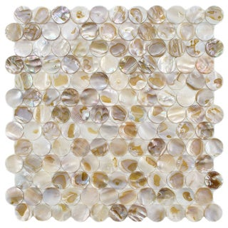 SomerTile Seashell Penny Natural Mosaic Tile (Pack of 10)
