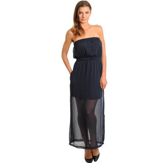 Stanzino Women's Solid Navy Semi Sheer Strapless Maxi Dress