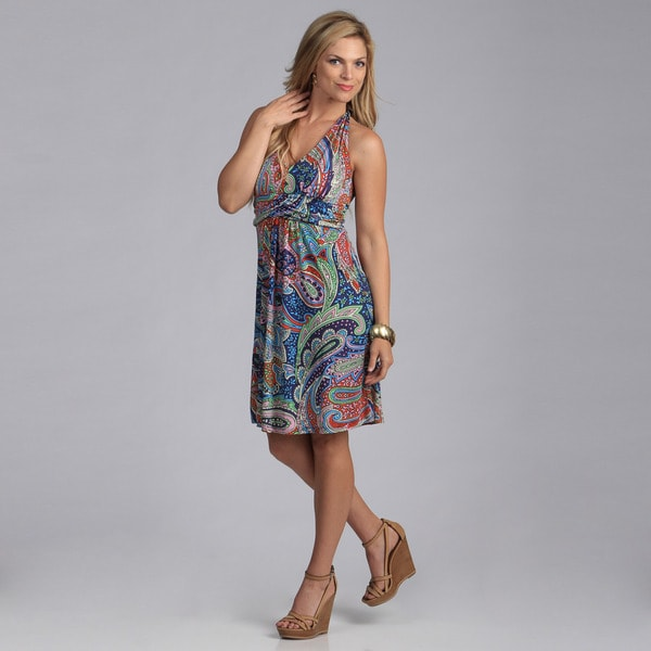 Talia Women's Multicolored Paisley Halter Dress