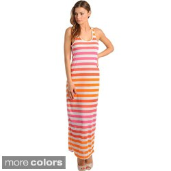 Stanzino Women's Sleeveless Scoop Neck Striped Long Dress