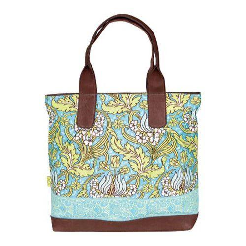Women's Amy Butler Cara Tote Temple Tulips Turquoise