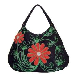 Women's Hobo Embroidered Bag Black/Red Flowers