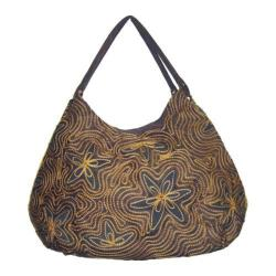 Women's Hobo Embroidered Bag Brown Swirls
