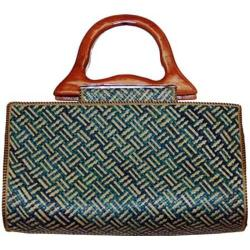 Women's Pandanus Satchel Wave Blue