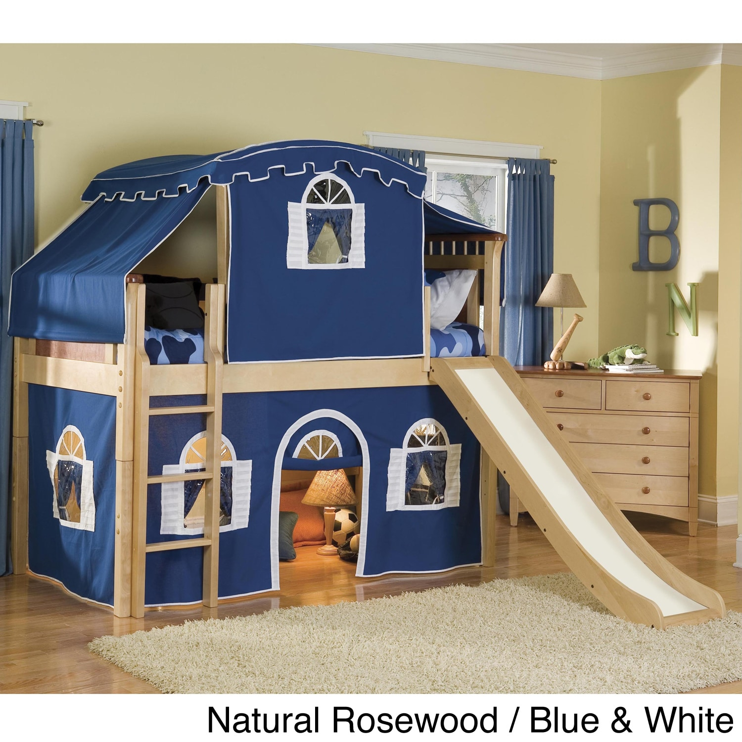 39 bennington 39 twin size low loft tented bed with slide overstock shopping great deals on kids. Black Bedroom Furniture Sets. Home Design Ideas