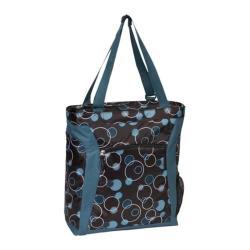 Laptop Tote Bag Teal Bubbles/Brown