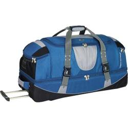 High Sierra 36in Drop Bottom Wheeled Duffel w/ Backpack Straps Blue Yonder/Tungsten/Black