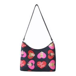 Women's I Love Lucy Signature Product Hobo LU65 Black/Hearts