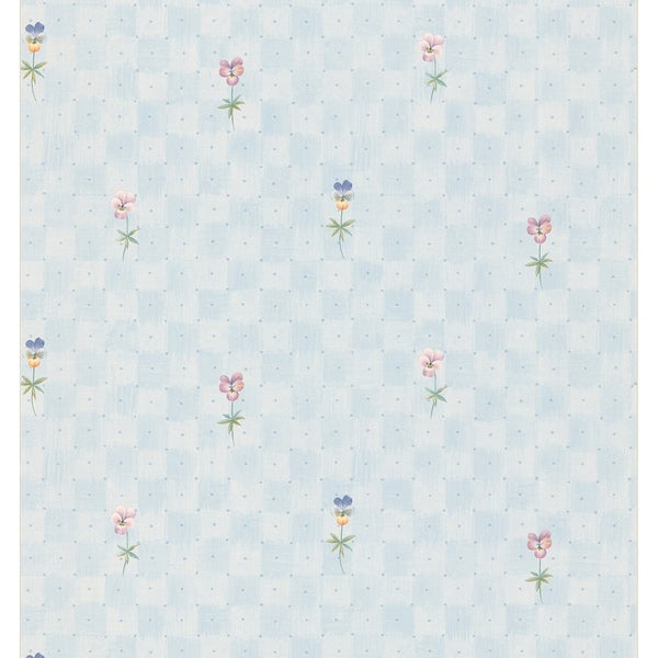 Light Blue Polka Dot Pansy Wallpaper