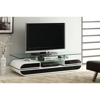 Furniture of America Ecom Two-tone Lacquer Glazed Tempered Glass 63-inch Media Center