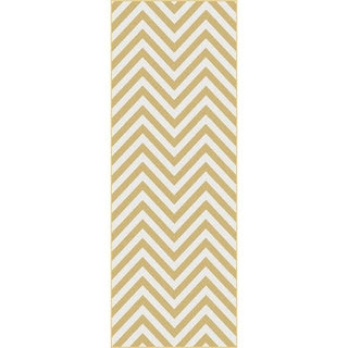 Metropolis Yellow and White Chevron Area Rug (2'7 x 7'3)