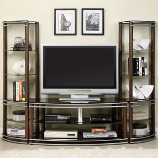 Furniture of America Khanhshey Tempered Glass Pier Tower Shelf 52-inch Media Center