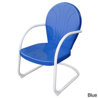 AmeriHome Retro Style Metal Blue Lawn Chair