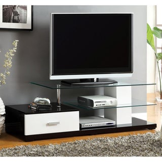 Furniture of America Limonite Contemporary Tempered Glass Media Center