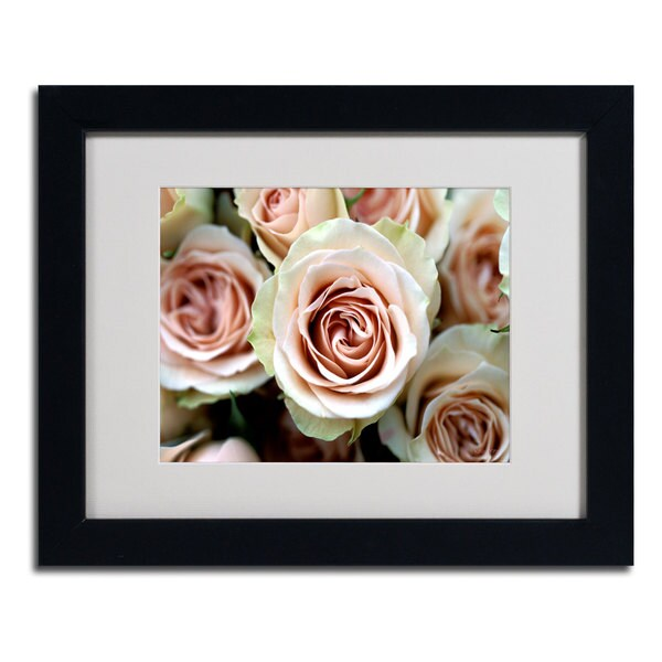Kathy Yates 'Pale Pink Roses' Framed Giclee Print Matted Art