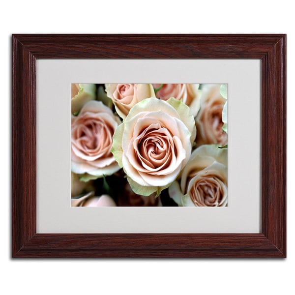 Kathy Yates 'Pale Pink Roses' Framed Matted Art