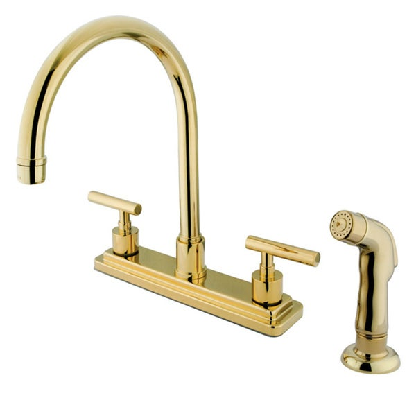 polished brass 2 handle kitchen faucet with side sprayer 15422339 shopping. Black Bedroom Furniture Sets. Home Design Ideas