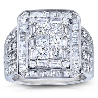 Annello 14k White Gold 2ct TDW Baguette Princess Mixed Cut Pave Diamond Ring (H-I, I1-I2)