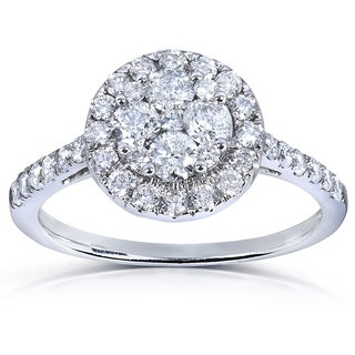Annello 14k White Gold 1 ct TDW Ladies Diamond Cluster Engagement Ring (H-I, I1-I2) with Bonus Item