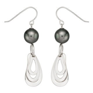 Pearlyta Sterling Silver Black Tahitian Pearl Earrings (9-10 mm) with Gift Box
