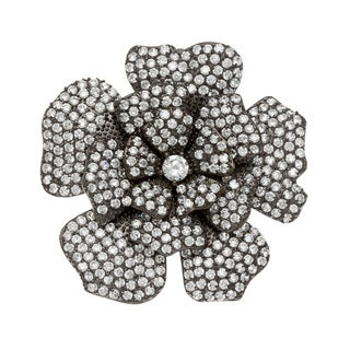Kate Bissett Black-plated Clear Cubic Zirconia Floral Brooch/ Necklace