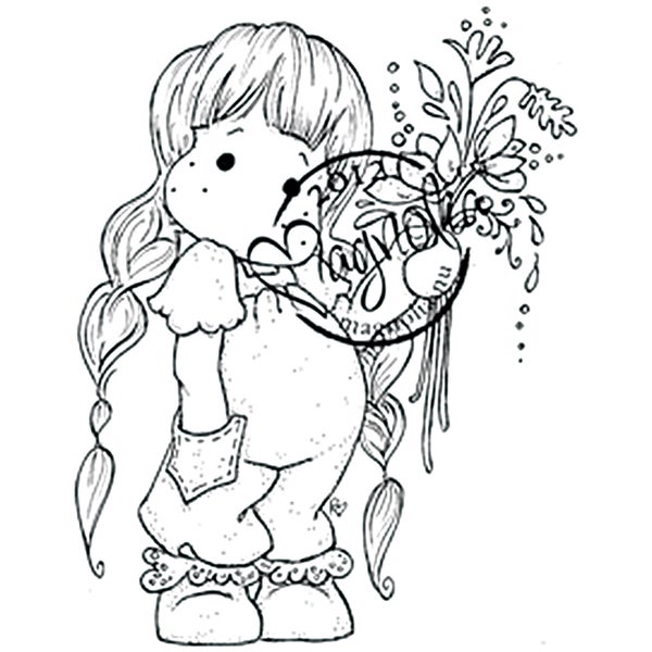 With Love Tilda with Little Pocket Cling Rubber Stamp