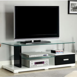 Twisted Vynes Contemporary Black and White Tempered Glass-lacquer Media Console