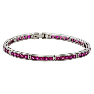 Oravo Sterling Silver Created Ruby Bracelet